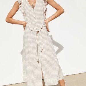 NEW! Zara Beige Gingham Midi Dress - Size Med